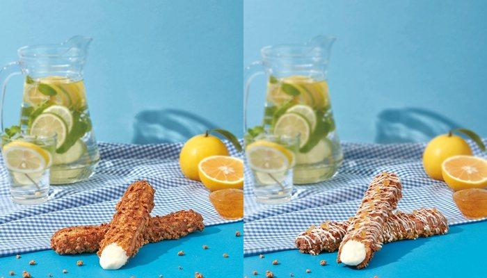 高知香柚棒棒泡芙(左)、香柚巧可棒棒泡芙(右)售價98/支。圖/ZAKUZAKU...