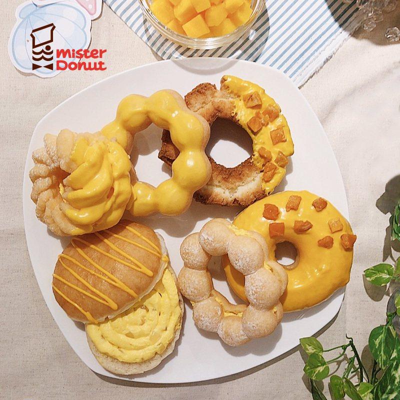 Mister Donut季節限定愛文芒果甜甜圈系列。圖/Mister Donut...