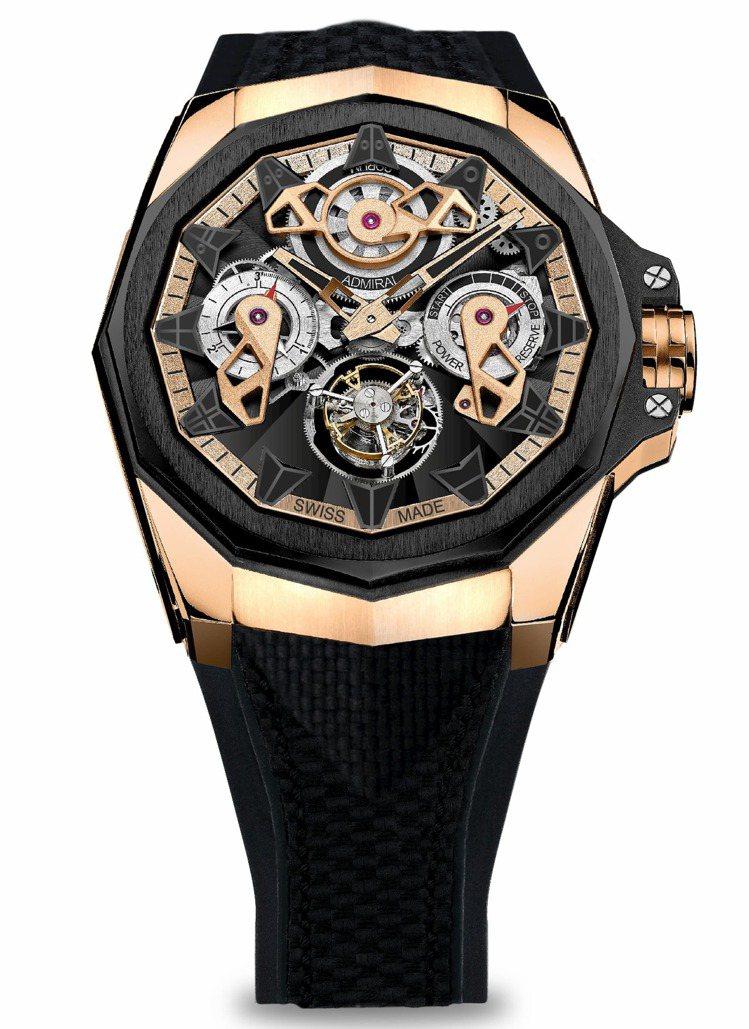 Admiral AC-ONE 45海軍上將系列玫瑰金鏤空陀飛輪腕表,233萬元。...