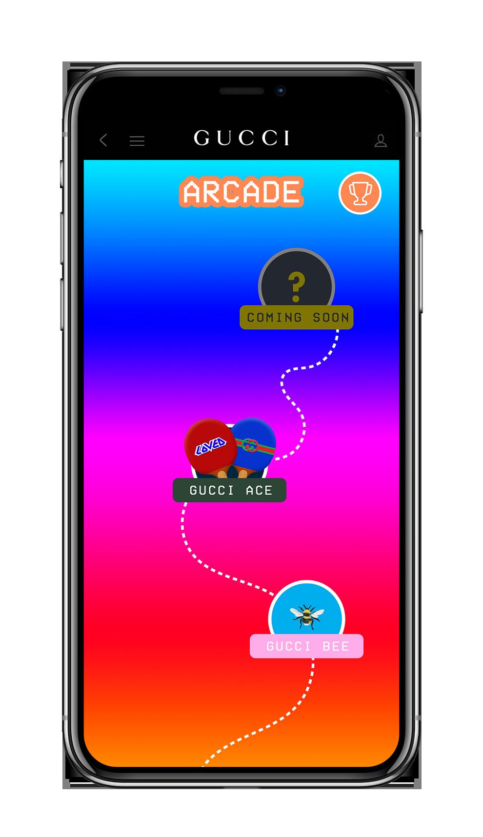 使用者可以透過互動娛樂模組Gucci遊戲廳(Gucci Arcade)感受玩遊戲...