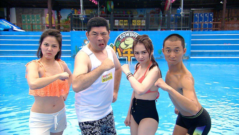 蘇晏霈(左起)、NONO 、篠崎泫和浩子錄民視「綜藝新時代」。圖/民視提供