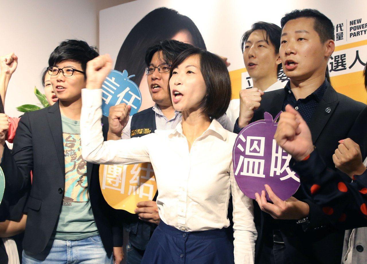 時代力量信義南松山立法委員參選人陳雨凡(中)。 聯合報資料照片/記者林俊良攝影