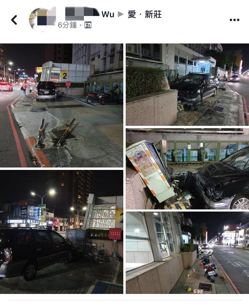 目擊民眾拍下事故現場,連電箱都被撞斷。圖/翻攝自地方臉書社團