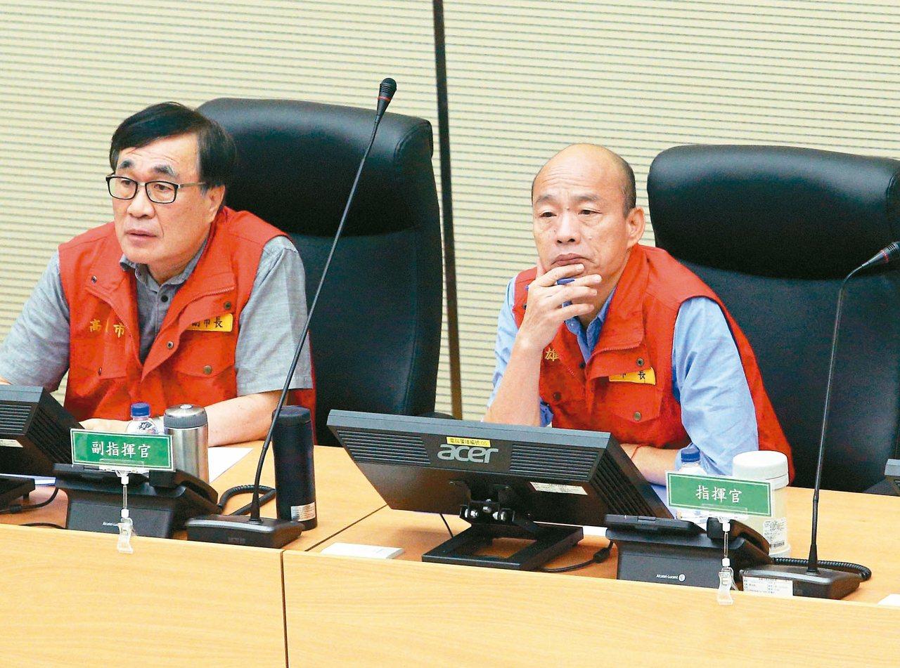 對於近日紛擾,高雄市長韓國瑜(右)說,每天被打,感覺很像地鼠。圖/聯合報系資料照...