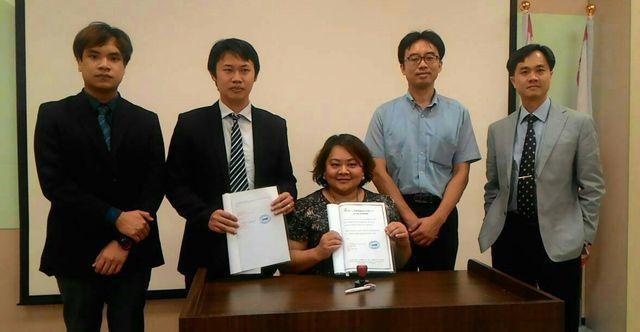 泰國新創醫美廠商與濟生製藥簽約。 工業局/提供