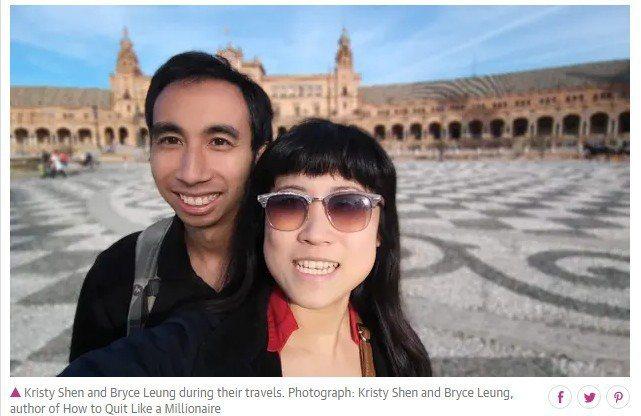 夫妻倆人31歲退休,遊遍日本、英國、葡萄牙、泰國等地,不但沒有花光積蓄還越來越富有。圖擷自衛報