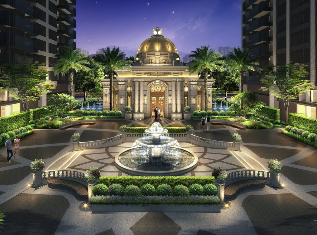 噴泉水舞花園3D示意圖。圖片提供/郡都建設