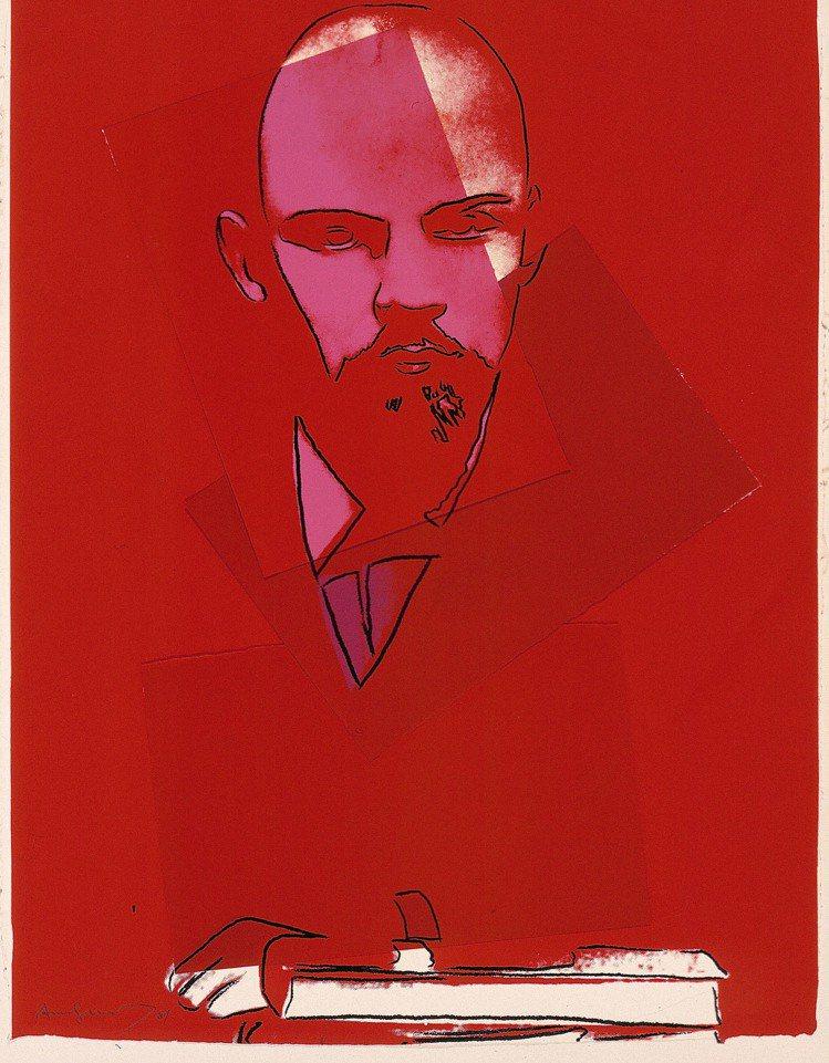安迪沃荷1987年作《列寧》,拼貼、絲網版畫、手工紙。圖/富藝斯提供