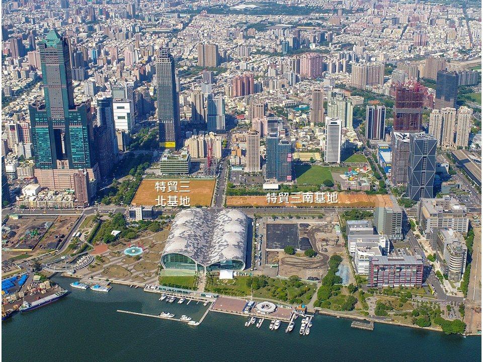 高雄多功能經貿園區最精華土地「特貿三」開發案。圖/高雄市都發局提供