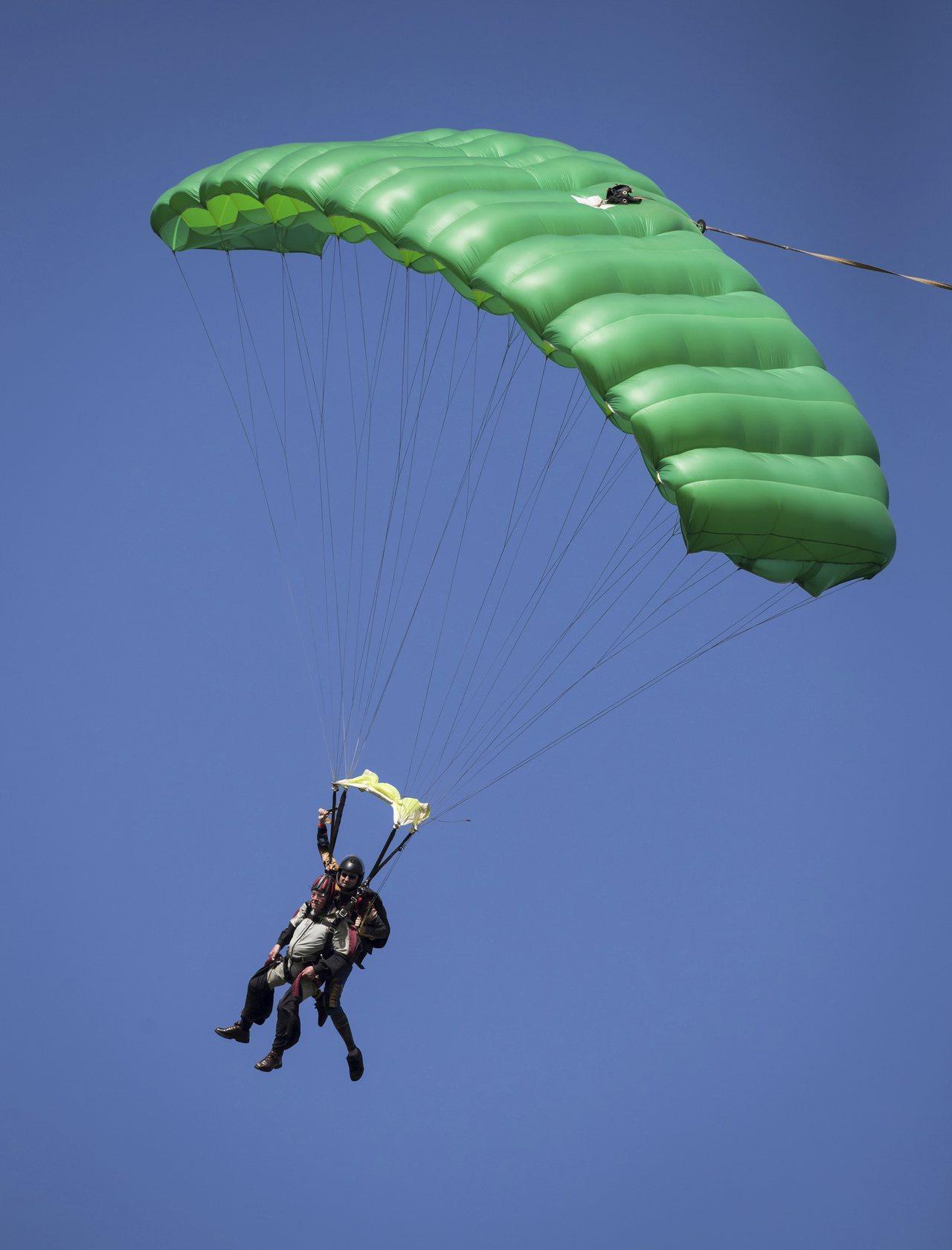 加拿大女子跳傘時傘具故障,從1500多公尺高空摔下來,奇蹟生還。圖為跳傘示意圖。...