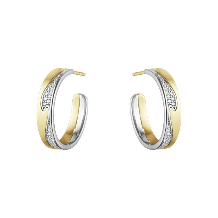 GEORG JENSEN NEW FUSION系列18K黃金白金鑲鑽耳環,90,...