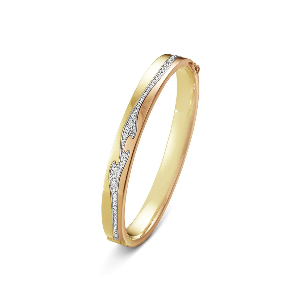 GEORG JENSEN NEW FUSION系列18K黃金玫瑰金搭配白金鋪鑲鑽...