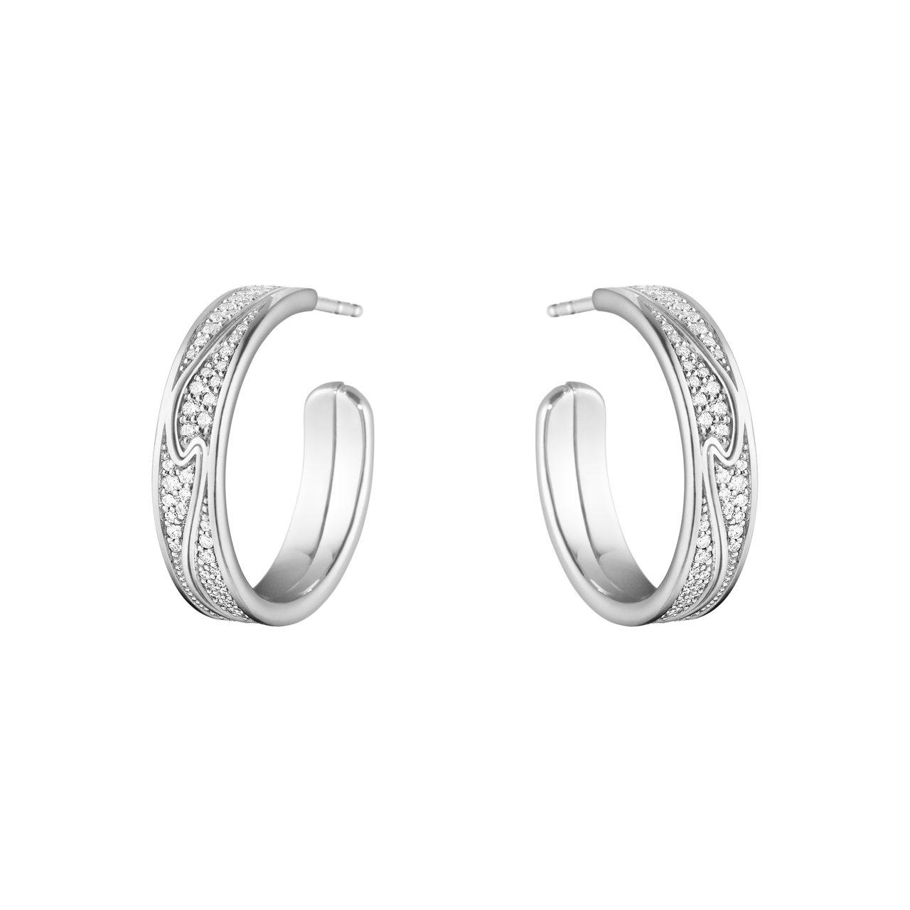 GEORG JENSEN NEW FUSION系列18K白金鋪鑲鑽石耳環,13萬...