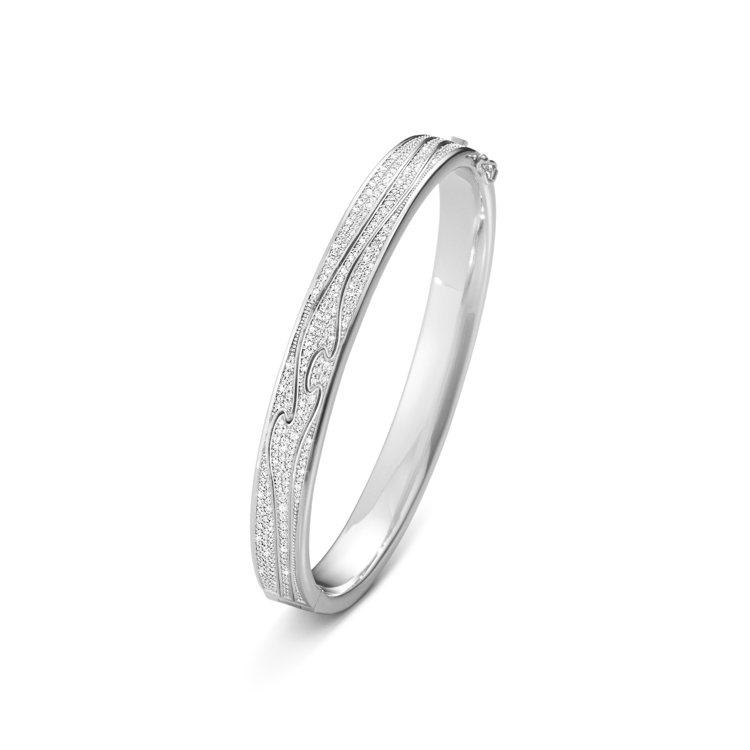 GEORG JENSEN NEW FUSION系列18K白金鋪鑲鑽石手鐲,54萬...