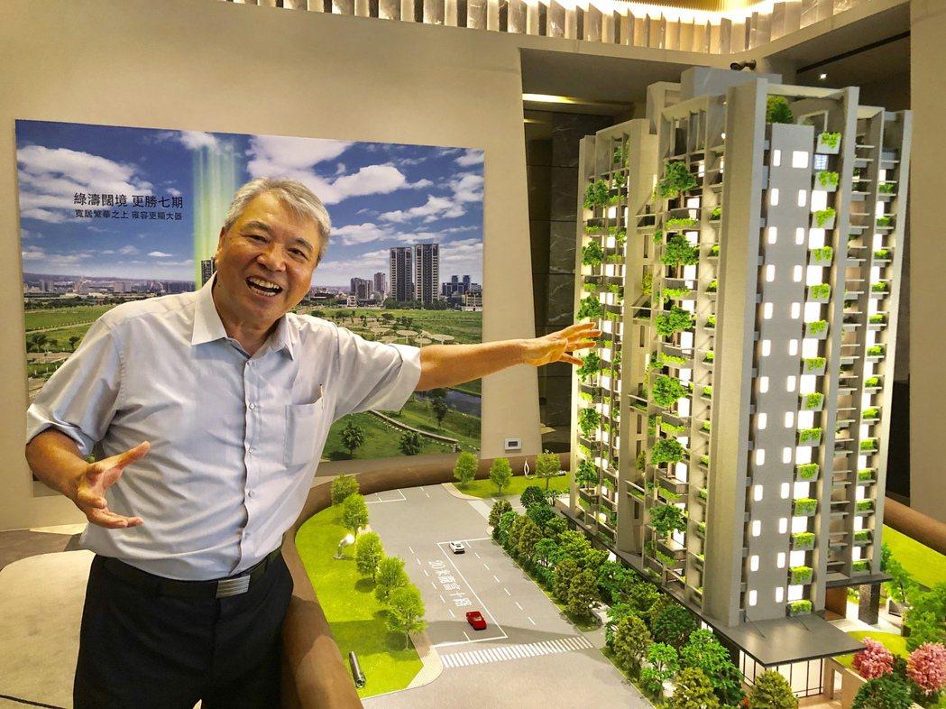 新業建設榮譽董事長穆椿松説,新業「大塊森鄰」讓大樹躍上家戶陽台、讓綠意走入生活空...