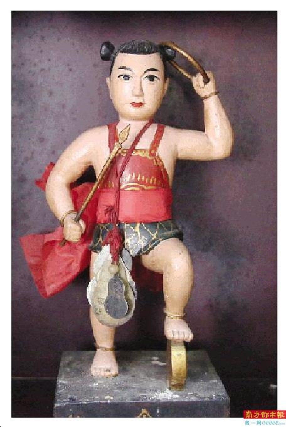 漢塘村供奉的哪吒像。圖/南方都市報