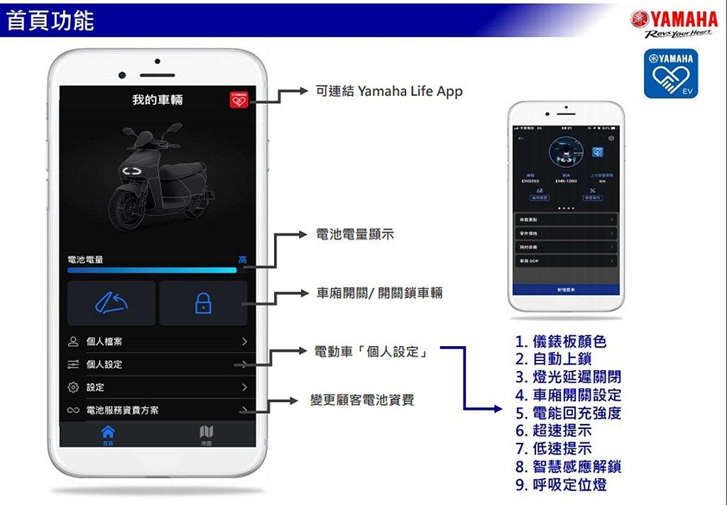 全新Yamaha Life EV App程式,透過智慧型手機能夠再進行車輛細部設...