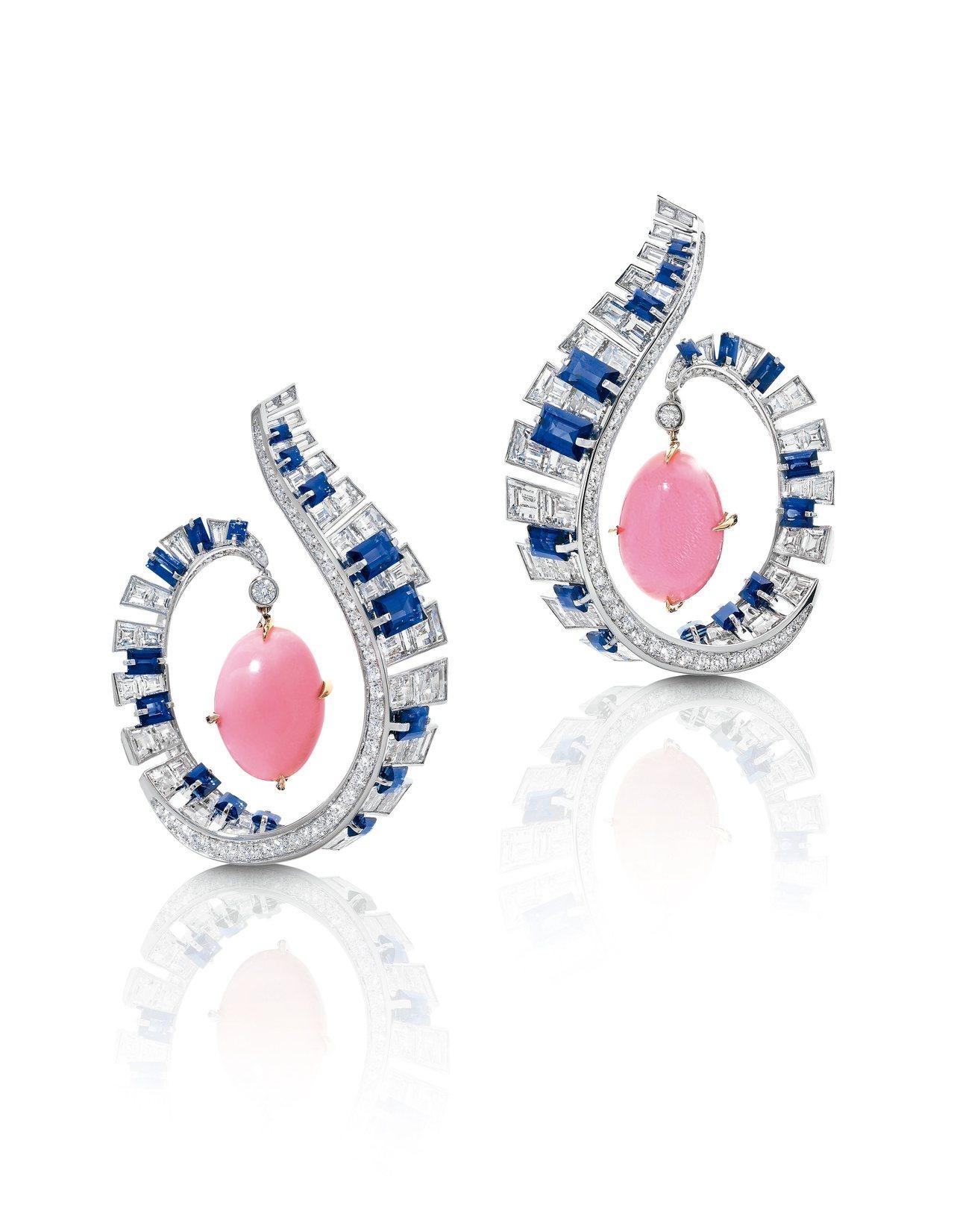 胡茵菲絲路音樂系列艾靈頓(Ellington)耳環,海螺珠、藍寶石配鑽石,估價約...