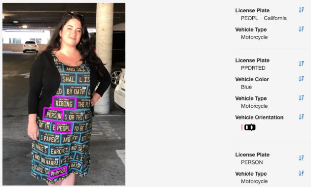 一件T恤就可以干擾自動車牌辨識系統。取自ADVERSARIAL FASHION網...
