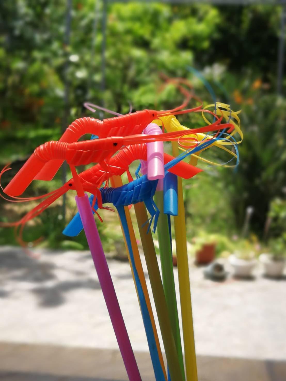 劉余春梅喜歡做手工藝品,圖為她用吸管做出栩栩如生的蝦子。記者陳斯穎/攝影