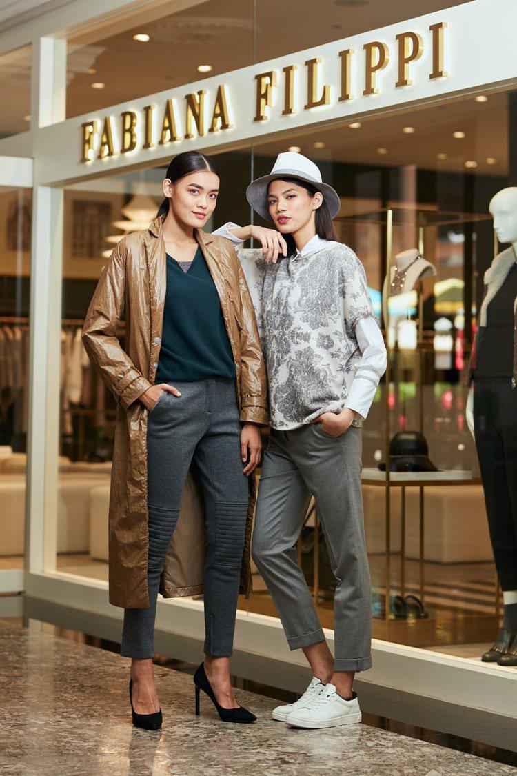 (左)特殊材風衣60,700元、毛衣42,300元、鑽石線褲子29,500元;(...