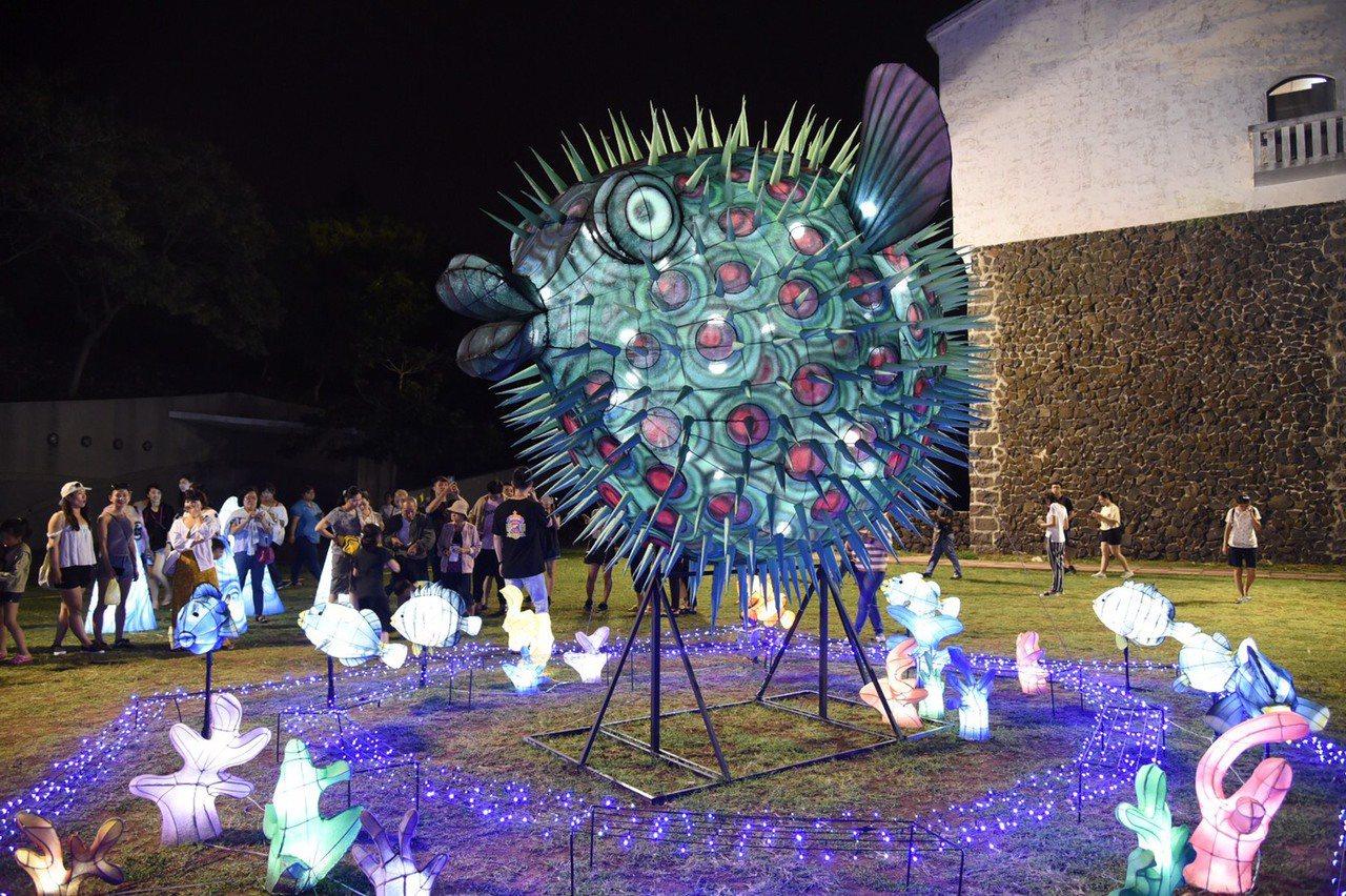 2019澎湖國際海灣燈光節在觀音亭華麗登場。圖/澎湖縣政府提供