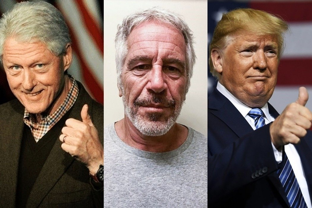 涉嫌性侵與性販運而入獄的金融家艾普斯坦(中)上周「自殺」,川普(右)與柯林頓涉入...