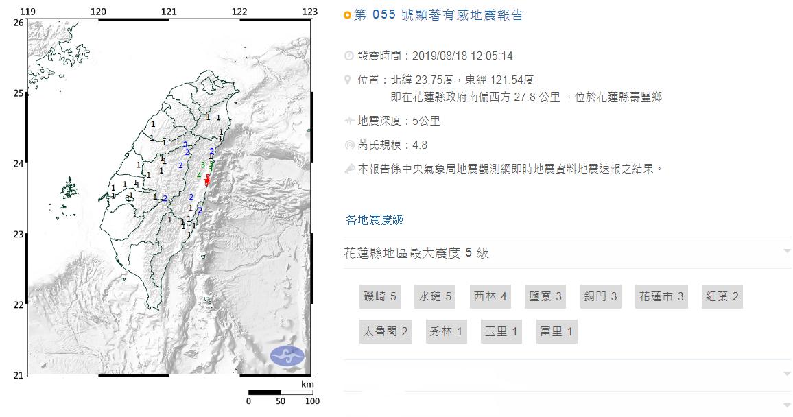 中央氣象局發布顯著有感地震報告,今天中午12時5分,在花蓮縣政府南偏西方27.8...