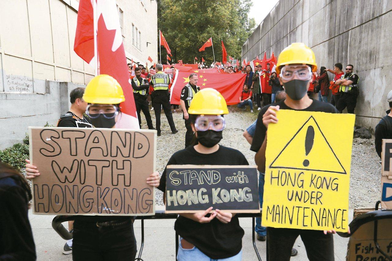 加拿大溫哥華17日出現抗議人士聲援香港反送中示威。 美聯社