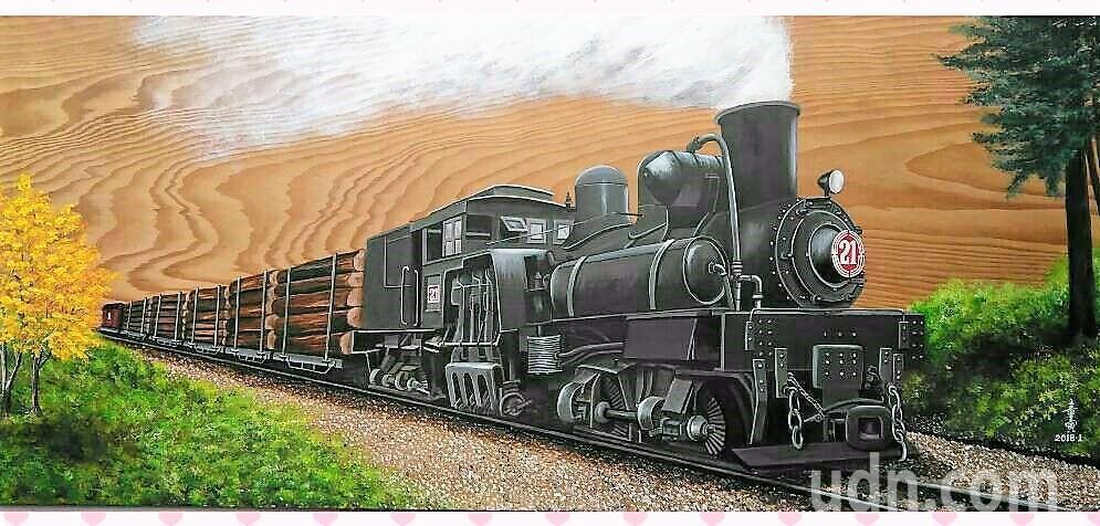 嘉義藝術家童寅,獨創在檜木板上,以油彩創作阿里山森林鐵路火車。記者卜敏正/攝影