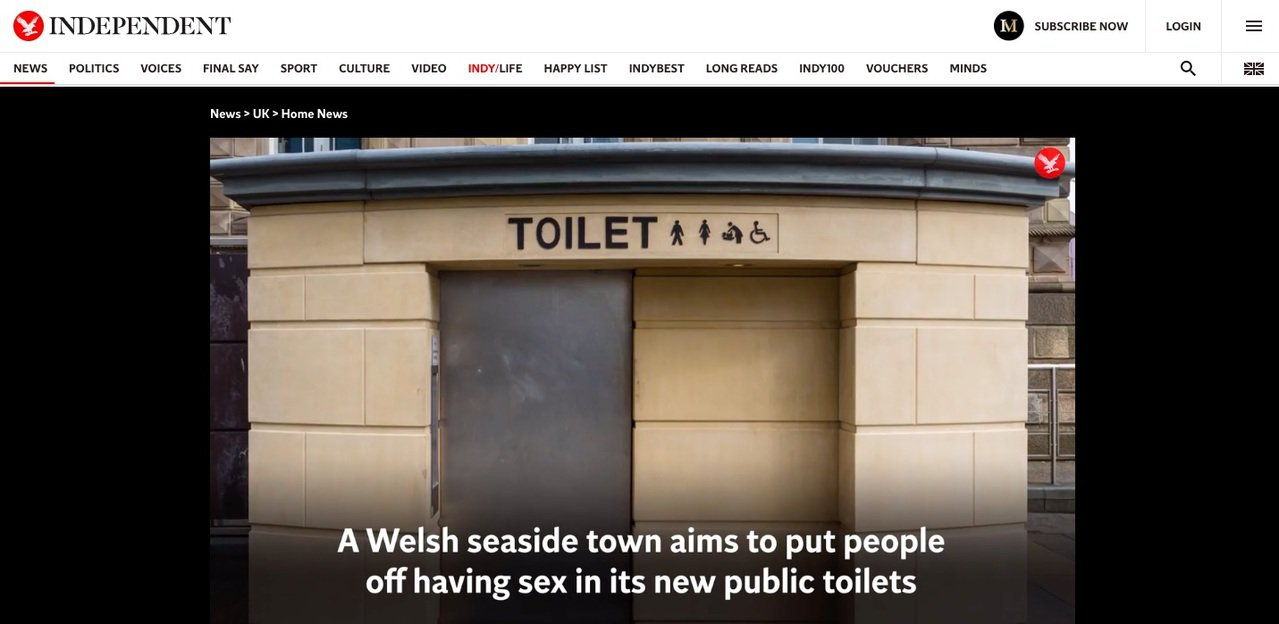英國威爾斯海濱城鎮伯爾斯考10月將興建新公廁,為阻止上演「四腳獸」戲碼,計畫加裝特殊阻撓裝置。翻攝獨立報官網
