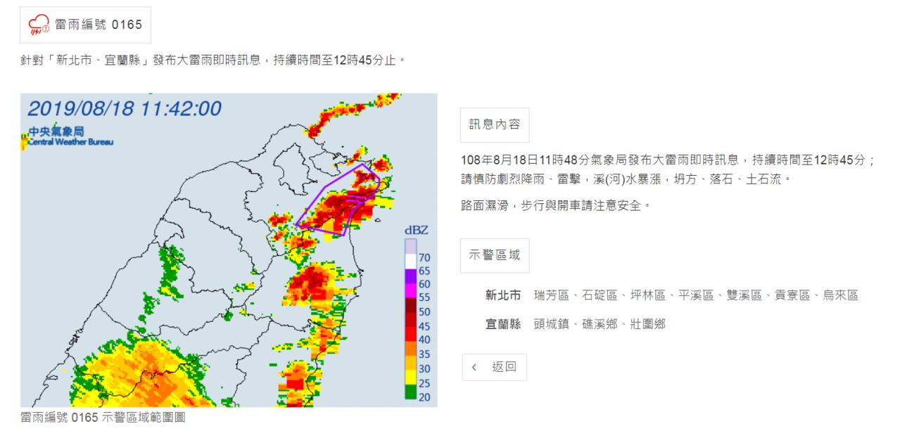 中央氣象局11時48分氣象局針對「新北市、宜蘭縣」發布大雷雨即時訊息,持續時間至...