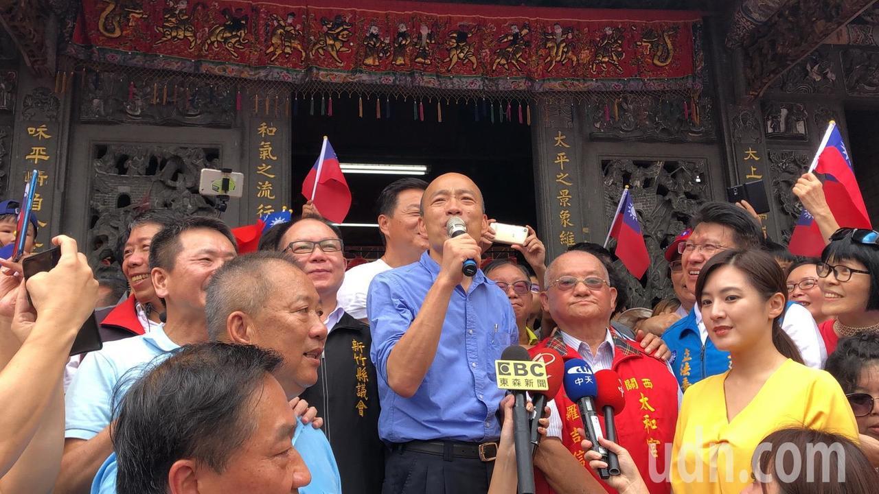 韓國瑜關西太和宮參拜,嗆蔡英文執政,中華民國還會是中華民國嗎?記者王駿杰/攝影