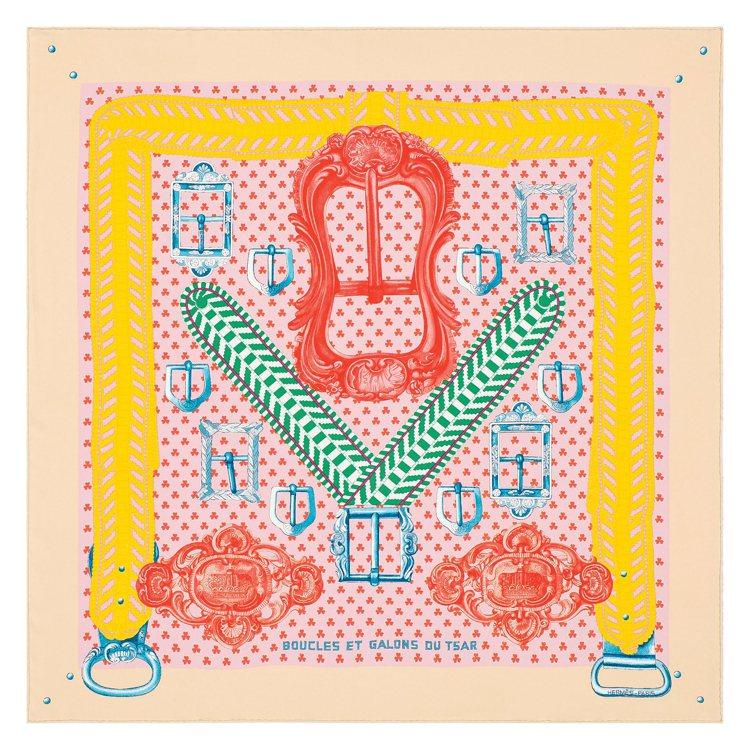 Boucles et Galons du Tsar圖紋印花斜紋真絲水洗方巾,17...