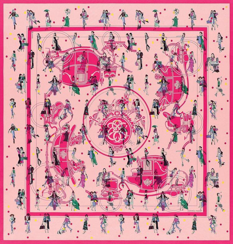 Ex-Libris les Parisiennes圖紋印花斜紋真絲方巾,12,1...