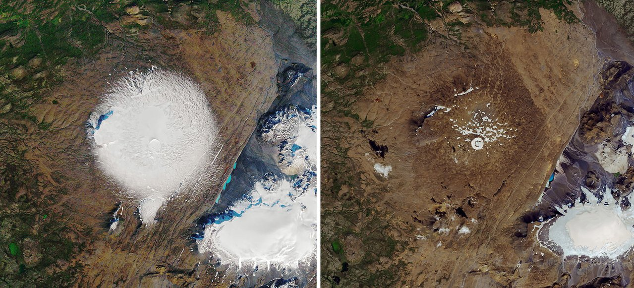 美國太空總署(NASA)提供衛星畫面,顯示Okjokull冰川在1986年9月日...