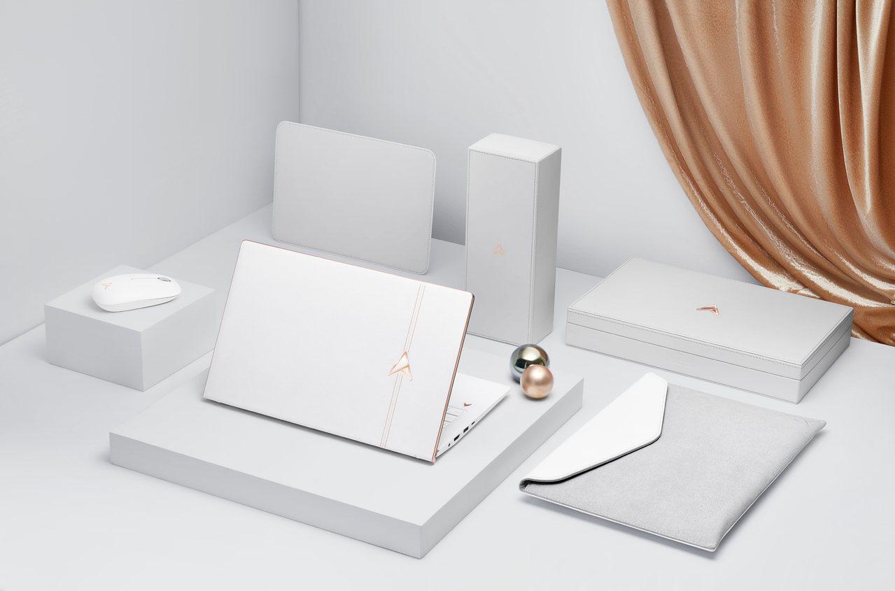 ASUS ZenBook Edition 30內含全套精品級配件,包含珍珠白滑鼠...