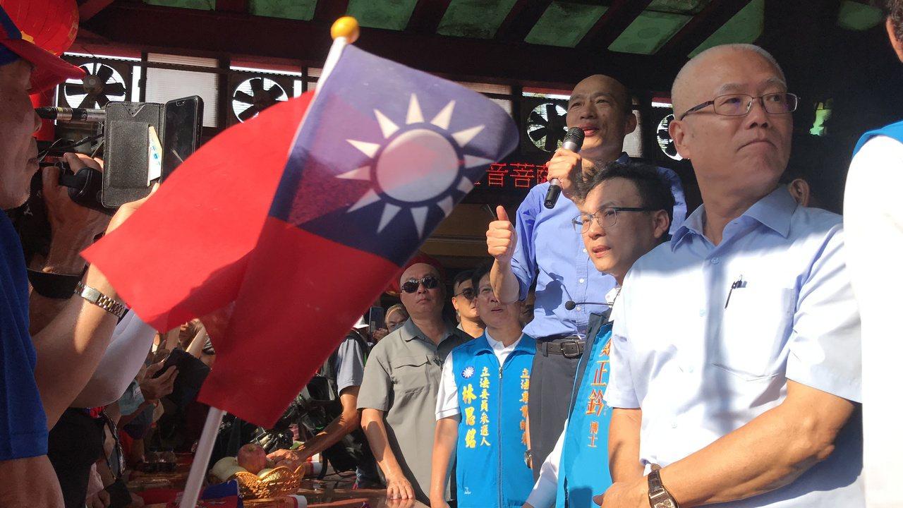 國民黨總統參選人韓國瑜今天下午到新竹市金山寺。記者郭政芬/攝影