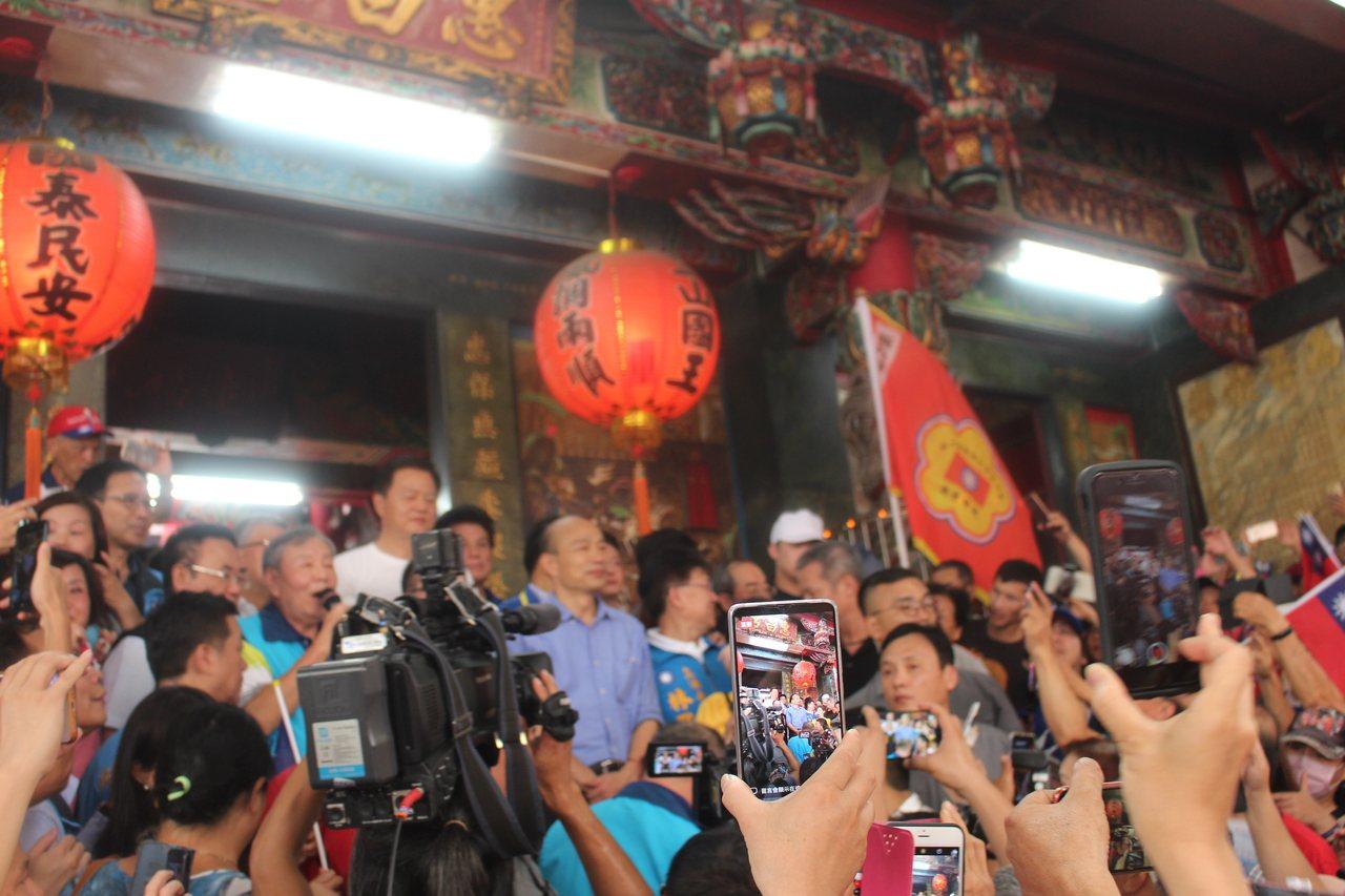 韓國瑜自喻為一隻雄壯雄偉的老鷹,將帶著台灣一飛沖天。記者張雅婷/攝影