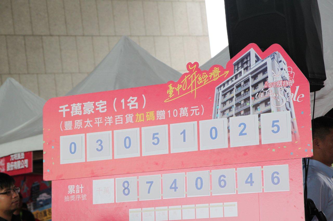 台中市長盧秀燕今天和贊助商一起抽出台中購物節的最大獎千萬豪宅。記者黃寅/攝影