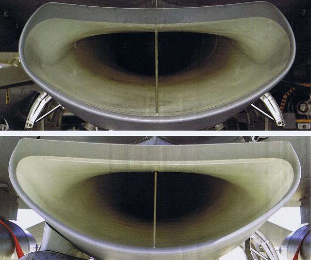 F-16使用不同發動機,而有「小嘴」(上)、「大嘴」(下)進氣口的形狀差異。圖/...
