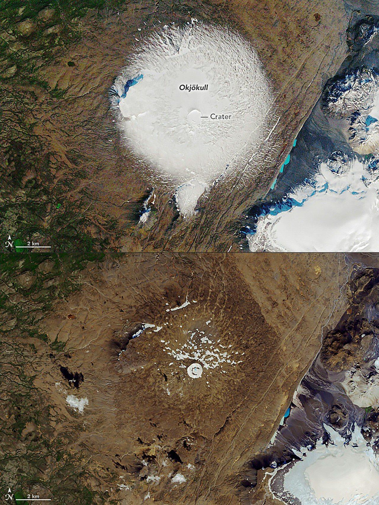 美國太空總署(NASA)發布的照片顯示,冰島Ok冰川在1986年9月7日覆蓋大片...