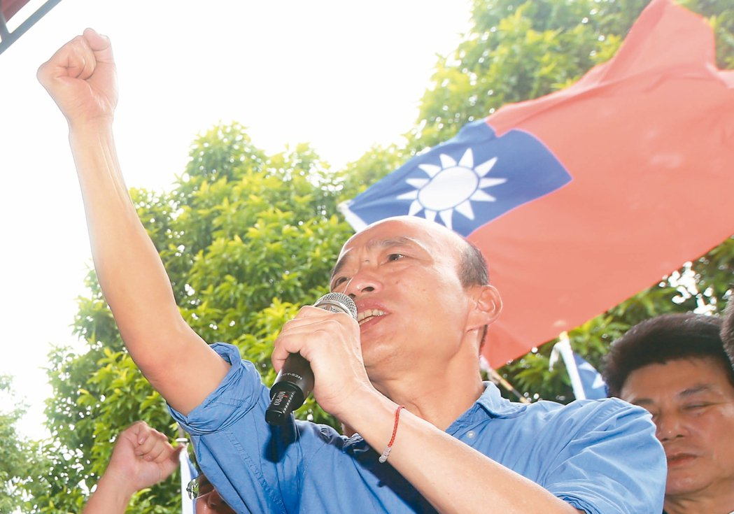 國民黨總統參選人韓國瑜(圖)昨天反嗆蔡英文總統執政讓台灣危險,人民貧窮。 記者陳...