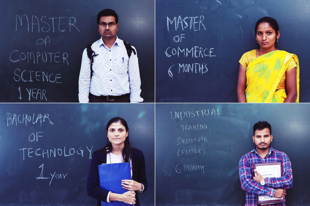 「電腦科學碩士,失業一年」「商學碩士,失業6個月」「科技學士,失業一年」「印度工...