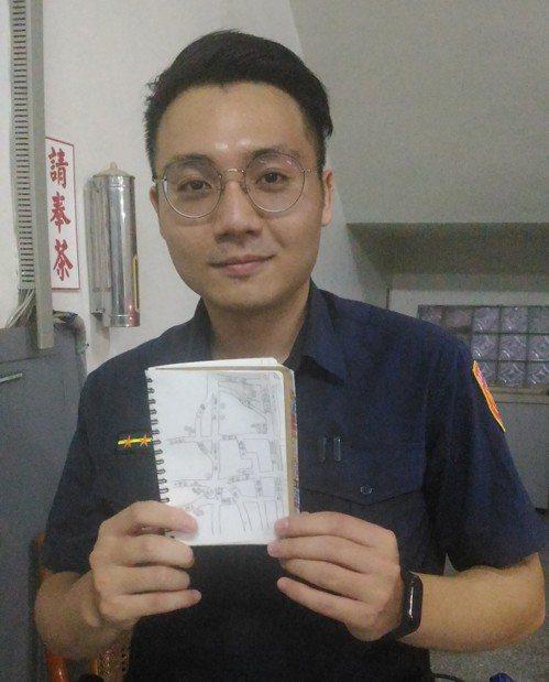 台南市警六分局鹽埕派出所年輕警員葛祐豪,為了記住巡邏路線,在筆記本上手繪巡邏地圖...
