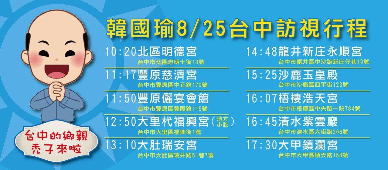 高雄市韓國瑜25日預計到台中的行程。記者謝梅芬/翻攝