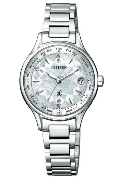 CITIZEN xC系列EC1160-54W腕表,鈦金屬表殼、表鍊,搭配珍珠母貝...
