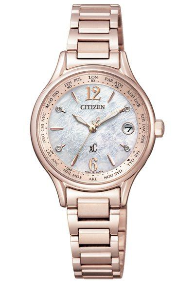 CITIZEN xC系列EC1164-53X腕表,鈦金屬鍍櫻花粉紅金表殼、表鍊,...
