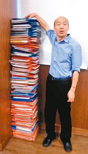 比比誰高 高雄市長韓國瑜(圖)昨開直播,堆出和他身高一樣高的公文跟行政院長蘇貞昌...