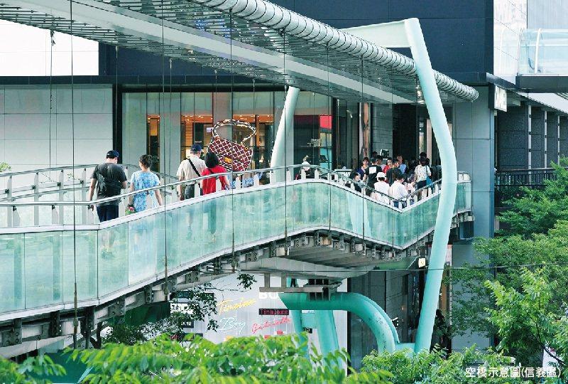 捷運A7站未來將有空橋聯通各棟建築物,住戶免刮風淋雨,輕鬆抵達捷運站。 圖/竹城...